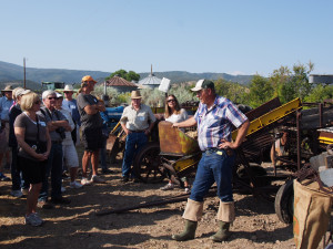 Loyd Gerard fields questions from the crowd of 73 people visiting his family's ranch in Gypsum, Colorado.
