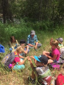 EVLT Stewardship Manager, Jessica Foulis, at Eagle River Preserve with Walking Mountains students