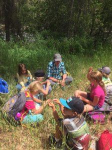 EVLT Stewardship Manager, Jessica Foulis, at Eagle River Preserve with Walking Mountains students